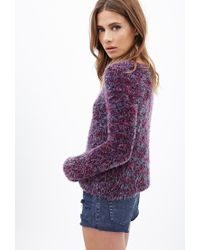 Forever 21 - Purple Multicolored Fuzzy Sweater - Lyst