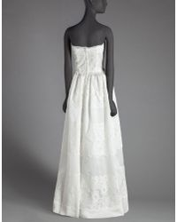 Dolce & Gabbana - White Long Dress In Organza With Bustier And Lace Appliqué - Lyst