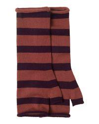 Toast | Brown Merino Stripe Fingerless Mittens | Lyst