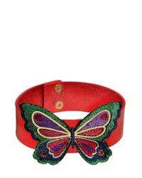 Manish Arora   Red Butterfly Metallic Leather Choker   Lyst