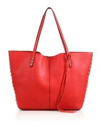 Rebecca Minkoff | Red Studded Leather Tote | Lyst