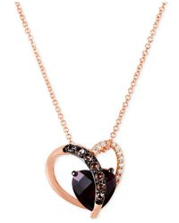 Le Vian | Metallic Smoky Quartz (1/10 Ct. T.w.) And Diamond Accent Heart Necklace In 14k Rose Gold | Lyst