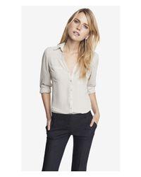 Express | Natural Original Fit Convertible Sleeve Portofino Shirt | Lyst