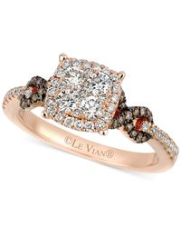 Le Vian | Brown Chocolate (1/10 Ct. T.w.) And White (7/8 Ct. T.w.) Diamond Braided Ring In 14k Rose Gold | Lyst