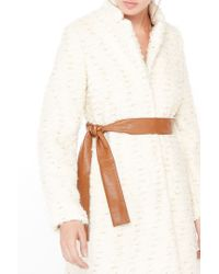 Liu Jo | White Jacquard Coat With Belt | Lyst