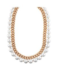 Anne Klein - Metallic Goldtone Chain and Imitation Pearl Tworow Necklace - Lyst