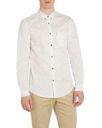 Ben Sherman | White Scattered Print Long Sleeve Shirt for Men | Lyst