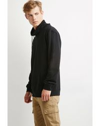 Forever 21 | Black Drawstring Funnel Neck Hoodie for Men | Lyst