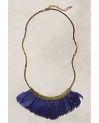 Anthropologie - Blue Fanned Feather Necklace - Lyst