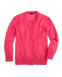 J.Crew - Pink Cotton Jackie Cardigan Sweater - Lyst