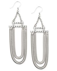 Guess - Metallic Two Row Chain Pavé Stone Drop Earrings - Lyst