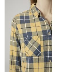 TOPSHOP - Yellow Checked Shirt - Lyst