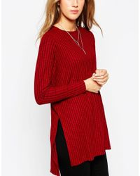 ASOS | Red Longline Top With Side Split With Long Sleeve | Lyst