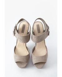 Forever 21 - Gray Platform Block Heel Sandals - Lyst