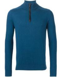 Michael Kors - Blue Zipped Turtle Neck Sweater for Men - Lyst