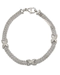 Lord & Taylor - Metallic Sterling Silver Cage Bracelet With Diamonds - Lyst