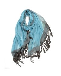 Michael Stars | Blue Cotton Scarf With Contrast Border And Long Fringe | Lyst