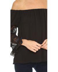 T-bags - Ruffle Sleeve Blouse - Misty Black - Lyst