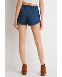 Forever 21 - Blue Twill Dolphin Shorts - Lyst