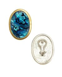 Gurhan - Metallic Paua Shell And Gold Stud Earrings - Lyst