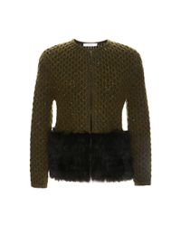 Carolina Herrera | Green Boxy Jacket with Fur Trim | Lyst
