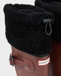 HUNTER - Brown Women's Original Shearling Cuff Rain Boots - Lyst