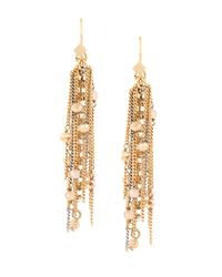 Kenneth Cole | Metallic Fringe Worthy Faceted Bead And Chain Drop Earrings | Lyst