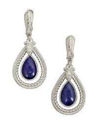Judith Ripka | Blue Navy Sapphire 'marina' Teardrop Framed Earrings | Lyst