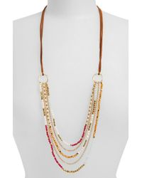 Panacea | Pink Pearl & Bead Multistrand Necklace | Lyst