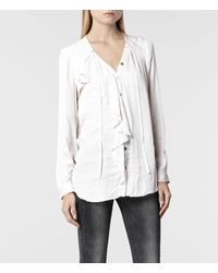 AllSaints - Natural Cancity Shirt - Lyst