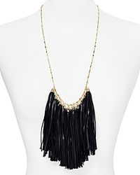 BaubleBar | Black Leather Tassel Bib Necklace, 24"