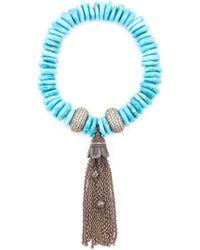Loree Rodkin | Blue Diamond Bead Tassel Bracelet | Lyst