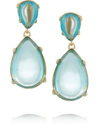 Kenneth Jay Lane | Blue Gold-tone Cabochon Earrings | Lyst