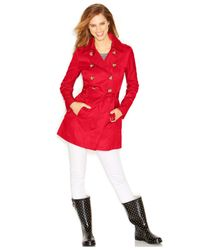 Guess | Red Double-Breasted Belted Trench Coat | Lyst