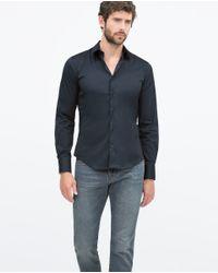 Zara | Blue Stretch Shirt Stretch Shirt for Men | Lyst