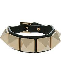 Valentino - Green Large Rockstud Leather Bracelet - Lyst