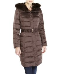Ellen Tracy | Brown Long Quilted Coat with Fox Fur Ruff | Lyst