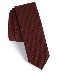 BOSS - Red Grid Wool & Silk Tie for Men - Lyst