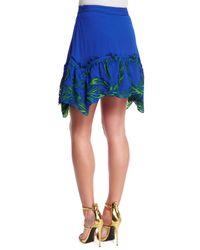 Roberto Cavalli - Blue Feather-embroidered Satin Skirt - Lyst