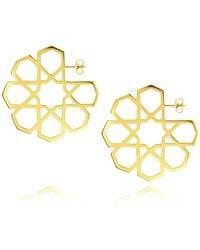 Ralph Masri | Metallic Arabesque Hoop Earrings | Lyst