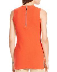 Lauren by Ralph Lauren | Orange Sleeveless Cotton Knit Top | Lyst