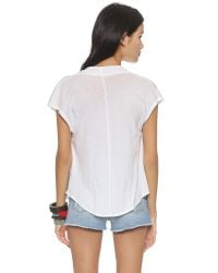 Free People - White Fantasy Cowl Tee - Black - Lyst