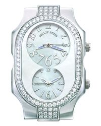 Philip Stein | Gray Large Signature Watch Head With Double Diamond Bezel & Mop Dial | Lyst
