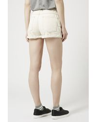 TOPSHOP - Natural Moto Selvedge Shorts - Lyst