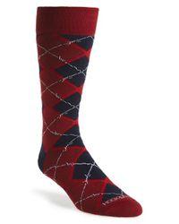 Hook + Albert | Red 'barbed Argyle' Socks for Men | Lyst