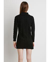 Forever 21 - Black Cable Knit Turtleneck Dress - Lyst