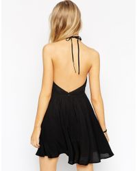 ASOS | Black Halterneck Crochet Mini Dress | Lyst