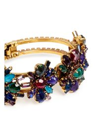 Erickson Beamon | Multicolor 'hyperdrive' Swarovski Crystal Floral Cluster Bangle | Lyst