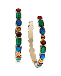 Guess - Metallic Goldtone Multicolor Stone Hoop Earrings - Lyst