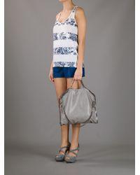 Stella McCartney   Gray Falabella Fold-Over Shopper Bag   Lyst